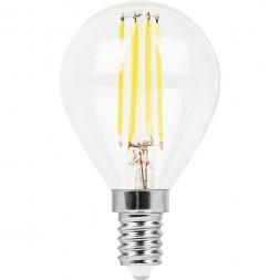 Лампа светодиодная филаментная Feron E14 9W 4000K Шар Прозрачная LB-509 38002