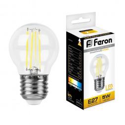 Лампа светодиодная филаментная Feron E27 5W 2700K Шар Прозрачная LB-61 25581