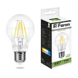Лампа светодиодная филаментная Feron E27 7W 4000K Шар Прозрачная LB-57 25570