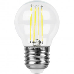 Лампа светодиодная филаментная Feron E27 9W 2700K Шар Прозрачная LB-509 38003