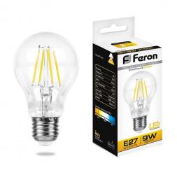 Лампа светодиодная филаментная Feron E27 9W 2700K Шар Прозрачная LB-63 25631