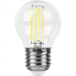 Лампа светодиодная филаментная Feron E27 9W 4000K Шар Прозрачная LB-509 38004