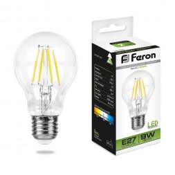Лампа светодиодная филаментная Feron E27 9W 4000K Шар Прозрачная LB-63 25632